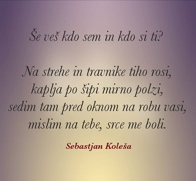 ljubezenski verzi Sebastjan Koleša