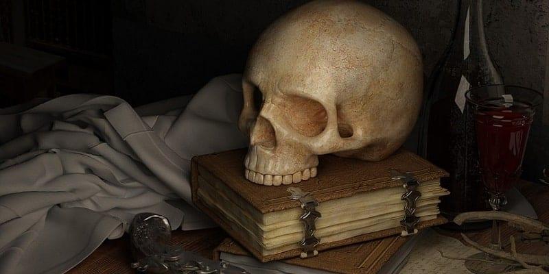 piratska pištola in lobanja na knjigi